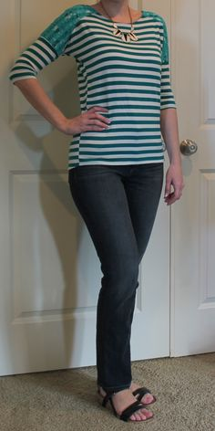 Stitch Fix - I love everything about this outfit, but especially the top.  Great color and style with the lace shoulders.