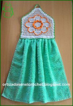 Crochet Home, Crochet Trim, Crochet Motif, Crochet Flowers, Knit Crochet, Crochet Towel Topper, Crochet Kitchen Towels, Diy Bags Patterns, Crochet Bedspread Pattern