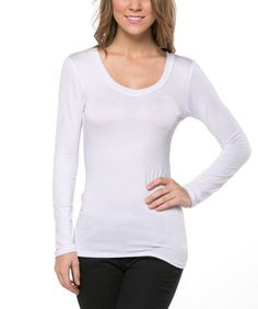 This Magic Fit White Long-Sleeve Scoop Neck Tee by Magic Fit is perfect! #zulilyfinds