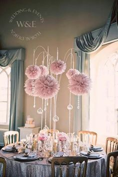 Stunning dusky pink pom poms with crystal droplets & hanging globe tea lights all suspended from our amazing multi arm tablestand centrepieces Table Centerpieces, Wedding Centerpieces, Wedding Table, Diy Wedding, Wedding Events, Wedding Decorations, Weddings, Wedding Stationery, Wedding Invitations