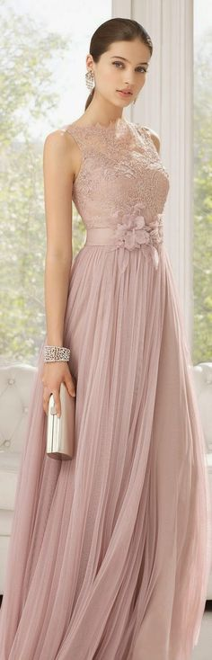 chiffon mink long length dress with detailed belt and lace bodice