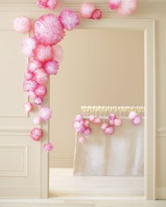 These snazzy pom-poms are made of spray-painted tulle and are super easy to make