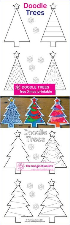 Christmas 'Doodle Trees', FREE printable to make tags, cards, garlands
