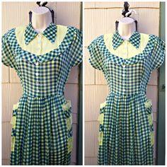 Vintage 1940s Blue Yellow Gingham House Dress Day Dress World War II Small MediumVLRockabilly VLV by PeachburritoVintage on Etsy