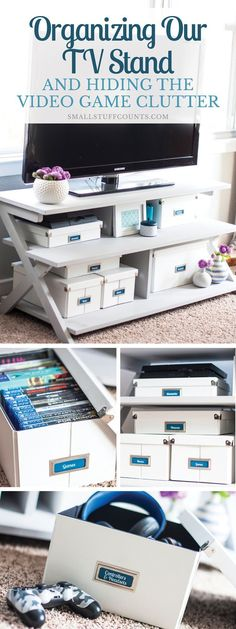 Love this organizing solution for a tv stand! Organize video games and all of the accessories inside pretty storage boxes. These Pop 'N Store boxes are so cool because they look nice and fold flat whe Pretty Storage Boxes, Tv Stand With Storage, Small Tv Stand, Organizing Your Home, Home Organization, Video Game Organization, Organising, Small Apartments, Small Spaces