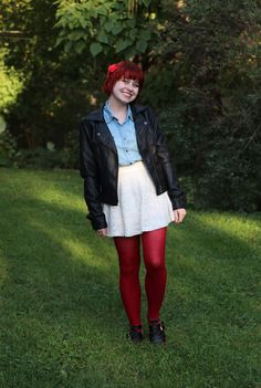 Fall Outfit: Black Leather Jacket, Denim Shirt, White Lace Skater Skirt, and Red Tights