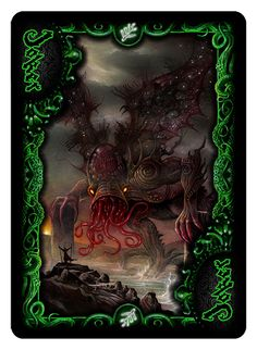 "Joker (Black) from ""Cthulhu:The Great Old One"" Elder Sign Edition Bicycle Playing Cards Deck from Dann Kriss Games; with art by Ian Daniels"