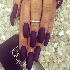 Matte dark purple nails