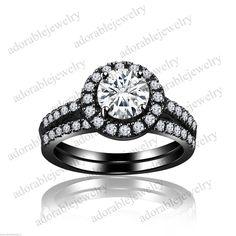 18K Black Gold On 925 Sterling Silver Round Cut Cubic Zircon Bridal Ring Set #adorablejewelry #BridalRingSet