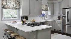 Maximize Your Layout.  L shaped counters like mine. Use larger counter for stools.