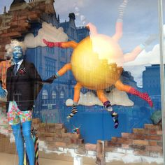 Harvey Nichols Edinburgh - one of a series of surreal window displays currently on show. The sunshine with socks slowly rotates…
