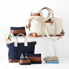 """Canvas with Leather Weekender Bag monogrammed """"ABT"""""""