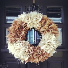 #DIY Burlap Wreath.... I would do this w/o hot glue and instead use a screwdriver to poke into a different type of wreath... like my mom did when I was little