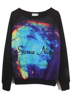 Black Long Sleeve Some Nights Triangle Print Sweatshirt US$27.87