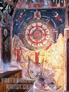 Medieval wheel of the Zodiac from the Church of Christ nativity, Arbanasi, Veliko Tarnovo, Bulgaria Tempera, Fresco, Mural Painting, Paintings, Story Tale, Churches Of Christ, Sun And Stars, Wheel Of Fortune, Medieval Art