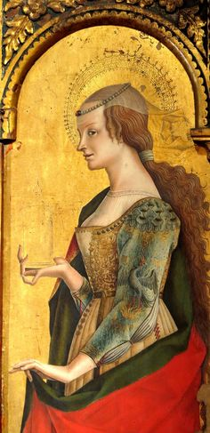 Saint Mary Magdalene by Carlo Crivelli - c. 1470 Part of the polyptych of the Polo Museale of San Francesco in Montefiore dell'Aso, province of Ascoli Piceno, Marche, Italy Renaissance Kunst, Renaissance Portraits, Italian Renaissance, Marie Madeleine, Italian Painters, Italian Art, Classical Art, European History, Medieval Art