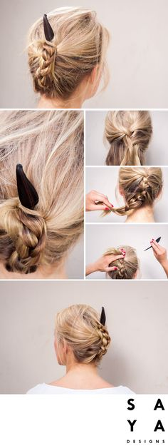 """How to do a """"High Plait"""".  Make a french braid from the centre of the head. Plait right down to the very end and then hold it tightly. Lift the bottom ofplat back up and fix in to the top. Twist the plat if it is long enough. Use the hairpin to secure the very top of the plain, weaving it through multiple layers of hair.   The hairpin used in this tutorial is the """"Banana Leaf"""" from our new collection now LIVE on Kickstarter."""