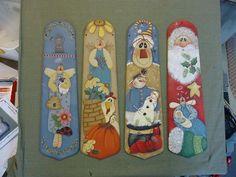 Painted fan blades | Four painted fan blades for the seasons