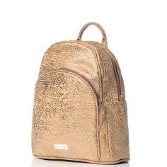 Mochila de cuero anima print cafe claro y dorada - VESKI Chile - encuentrala en http://veski.cl   Leather backpack - Gold