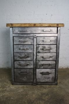 Metal Cabinet With Wood Top | Industrial    Is This Too Gunmetal?