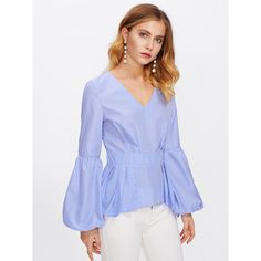 Bishop Sleeve Boxed Pleated Peplum Top ❤ liked on Polyvore featuring tops Bishop Sleeve, Peplum, Bell Sleeve Top, Blouse, Polyvore, Stuff To Buy, Shopping, Collection, Tops