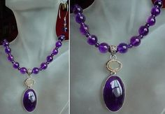Amethyst Necklace c/w Sterling Silver Amethyst Pendant by camexinc, $47.00