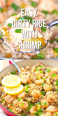 Easy Dirty Rice with Shrimp – a healthy twist on a Cajun classic. The addition of shrimp turns this into a fabulous main dish. Easy to make and very flavorful! Seafood Appetizers Seafood Appetizers Appetizers Appetizers for a crowd Appetizers parties Fish Recipes, Seafood Recipes, Mexican Food Recipes, Beef Recipes, Cooking Recipes, Seafood Appetizers, Seafood Rice Recipe, Dirty Rice Recipe, Shrimp And Rice Recipes