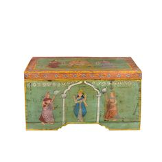 45580 Chest - Mohr & McPherson Teak trunk with assorted painted scenes. Each is unique, approximately