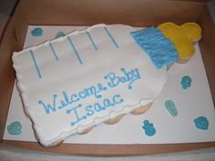 Baby Shower Pull-Apart Cake - Pull-apart (cupcakes) cake in shape of baby bottle.
