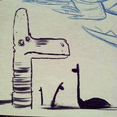 'Day #8' #dinodoodle #doodlesaurus #inktober #brachiosaur #doyouthinkhesawus