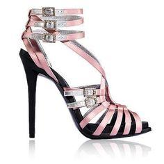 Roger Vivier | 2017 | silver-glitter-and-buckle-embellished pink-satin peep-toe triple-ankle-strap very-high-heeled sandal #silveranklestrapsheels #anklestrapsheels2017