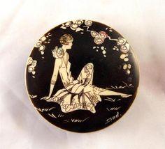 Vintage 1950s Art Deco Style Compact Mirror Black White Flapper Girl