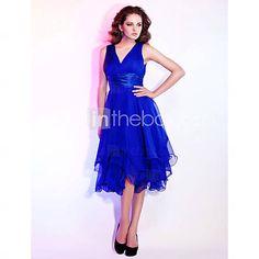 [USD $ 148.49]  A-line V-neck Knee-length Chiffon Cocktail Dress
