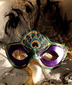 The Peacock-Handmade leather mask.. $120.00, via Etsy.