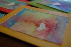 handmade card idea - with watercolor Watercolor Cards, Watercolor Heart, Easy Watercolor, Watercolor Paintings, Watercolor Christmas, Watercolors, Kindergarten Art, Preschool Art, Elementary Art
