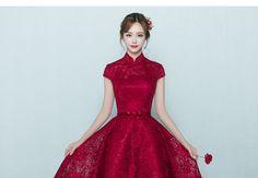 Buy Rosita Mandarin Collar Lace Midi Cocktail Dress   YesStyle