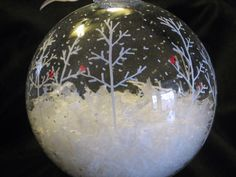 Hand Painted Glass Christmas Ball Ornament