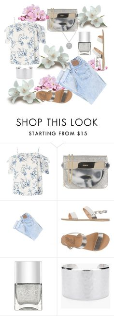 """simple jeans style"" by keepitrealforme ❤ liked on Polyvore featuring Dorothy Perkins, Furla, Ancient Greek Sandals, Nails Inc., Chico's and Anne Sisteron"