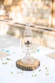 Vintage Oil Lamps and Tree Trunk Centerpiece Make with my milk glass lamps