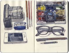 Equipment page by Will Freeborn. - A selection of sketch book. Sketch Journal, Artist Journal, Sketchbook Pages, Fashion Sketchbook, Journal Art, Moleskine, Art Diary, Grafiti, Visual Diary