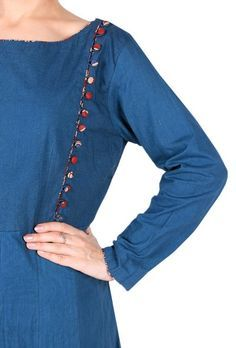 This beautiful navy blue color anarkali comes with Kalamkari print border & potli buttons in angrakha style. This simple & elegant piece can be enhanced with a Kalamkari print jacket for a festive vibe. Dimension: Available in size XS, S, M, L, XL, XXL & XXXL Length of the kurta : L: 54 inches  Length of sleeves : 20 Inches  Color: Blue Lining: NO Material: Kalamkari Cotton Finish: Hand Block Printed Inspiration: Kalamkari