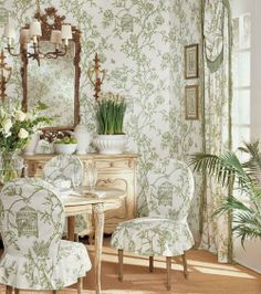 www.eyefordesignlfd.blogspot.com: Matching Upholstery and Wallpaper......Lovely Interiors When Done Correctly