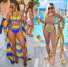 I really dont mind heading to the pool in this super fabulous Ankara swimsuit sets by the mega talented ofuure. See how mariipvzz killed it! Girl, you are a Queen! I hail . African Print Fashion, African Fashion Dresses, Fashion Outfits, Ankara Fashion, Africa Fashion, African Attire, African Prints, African Fabric, Suit Fashion