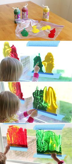 Stained glass painting - minus the mess! #DIY #KidsCraft