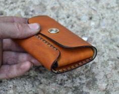 Cuero hombres billetera cartera de cuero tarjeta soporte cuero hecha a mano