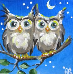 """Two Night Owls on a Tree Branch"" par Into The Blue"