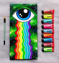 Surrealism Painting On Canvas Rainbow Tears Eye Green Artwork Wall Hanging Collectible Art Modern Li Cute Canvas Paintings, Small Canvas Art, Mini Canvas Art, Hippie Painting, Trippy Painting, Painting Walls, Alien Painting, Space Painting, Cartoon Painting