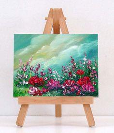 Field Of Flowers 2 . 3x4   original miniature oil by valdasfineart