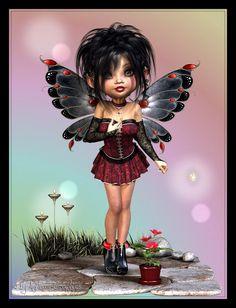 Anitram Graphics Fantasy Kunst, Gothic Fantasy Art, Gothic Fairy, Elves Fantasy, Cute Fairy, Baby Fairy, Cute Cartoon Pictures, Fairy Pictures, Fairy Figurines