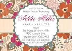 Addie Fall Flowers Baby Shower Invitation by andreagerigdesigns, $15.00